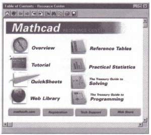Figure 2-2: Resource Center for Mathcad Professional. Topics available in Mathcad Standard or other editions differ slightly.