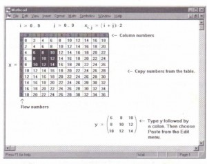Figure 7-10: Creating a new matrixfrom numbers in a scrolling output table.