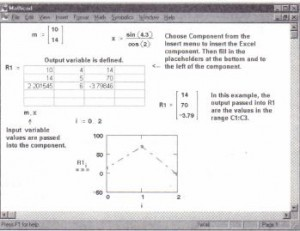 1nserting an Excel component into Mathcad to exchange data