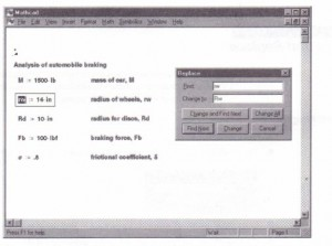 Figure 5-4: Replacing text or math characters via the Replace dialog box.