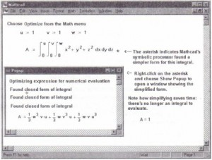 A pop-up window showing the equivalent expression that Mathcad actually evaluates.