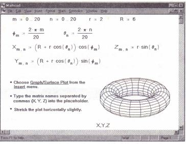 Creating parametric surface plots » MathCadHelp com » Number 1 in