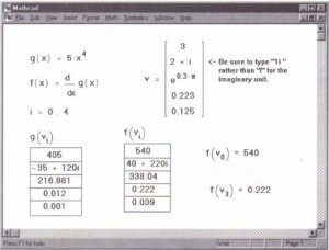 Evaluating the derivative of a function at several values stored as elements of a vector.
