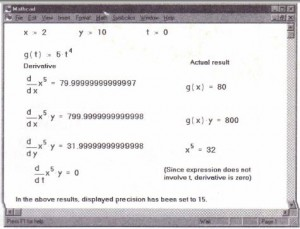 Examples of Mathcad differentiation.