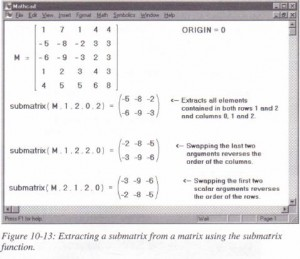 Extracting a submatrixfrom a matrix using the submatrix function.