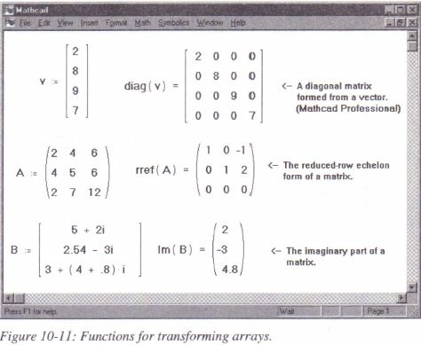 Vector And Matrix Functions Mathcadhelp Number 1 In Mathcad