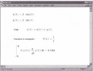 How to do a complex contour integral in Mathcad.