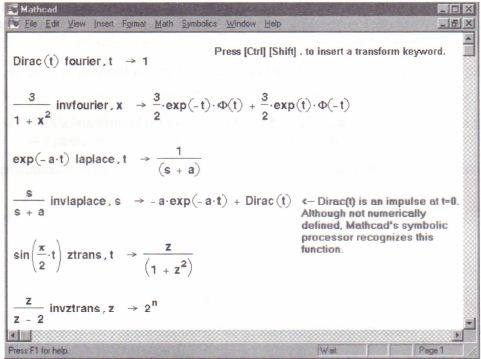 Symbolic Transforms Mathcadhelp Number 1 In Mathcad Assignments