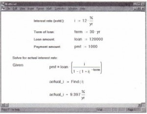 Solving for the interest rate in a mortgage.