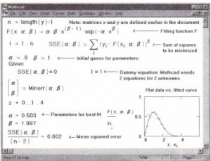 Using the minerr function to do nonlinear least-squares fitting.